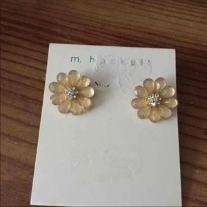 Ivory Large Floral Statement Stud Earrings